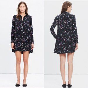 Sezane Black Silk Floral Shirt Dress Shift Medium